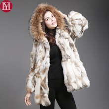 2019 hot sale women rabbit fur coat real genuine rabbit fur jacket with real raccoon fur collar real natural rabbit fur coats cheap Raccoon Dog Fur REGULAR Double-faced Fur Natural Color With Raccoon Dog Fur Collar Real Fur YH-1512 Full Single Breasted