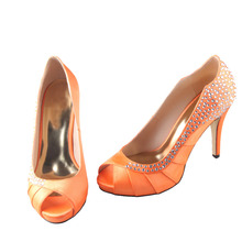 Handmade orange pleated open toe font b woman b font high heels with rhinestones bridal wedding