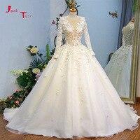 Jark Tozr 2018 New Arrive Abiti Da Sposa Long Sleeve Pearls Crystal Appliques Flowers Princess Wedding