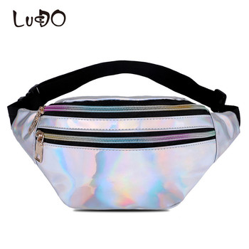 LUCDO Marke Männer Messenger Tasche Gürtel Leder Handliche Frauen Mode Geld Gürtel Telefon Reflektierende Laser Taille Tasche Damen Schulter Tasche