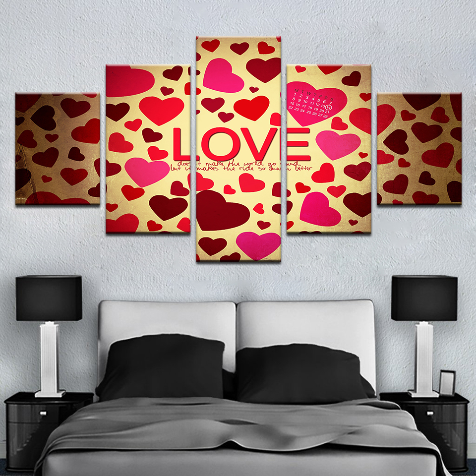 Modern Canvas Wall Art Poster Frame Lovers Room Decor HD Prints 5 Pieces Sweet Love Heart