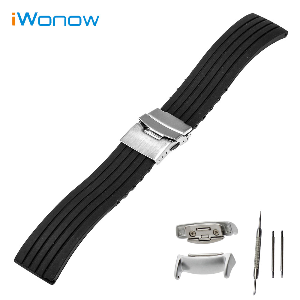Silicone Rubber Watch Band 18mm for Samsung Gear Fit 2 SM-R360 Stainless Safety Buckle Strap Wrist Belt Bracelet Black +Adapters