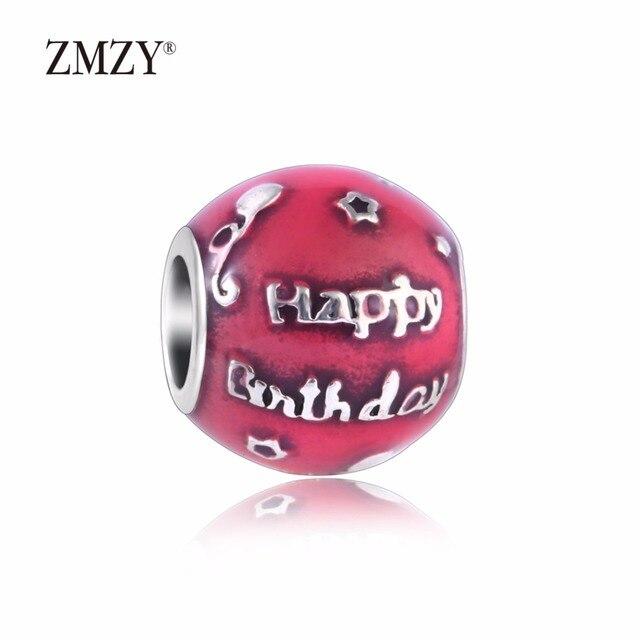620bc1e86 ZMZY Original 925 Sterling Silver Charm Happy Birthday Charm Cerise Enamel  Beads Fits Pandora Charms Bracelets