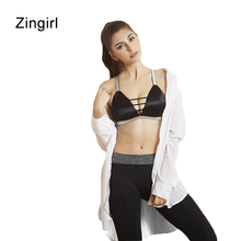 Zingirl Sexy Slim Deep V-Neck Elastic Bandage Women Bra Elegant Brief Push Up Intimates Mujer Cross Lace Up Hollow Out Tanks