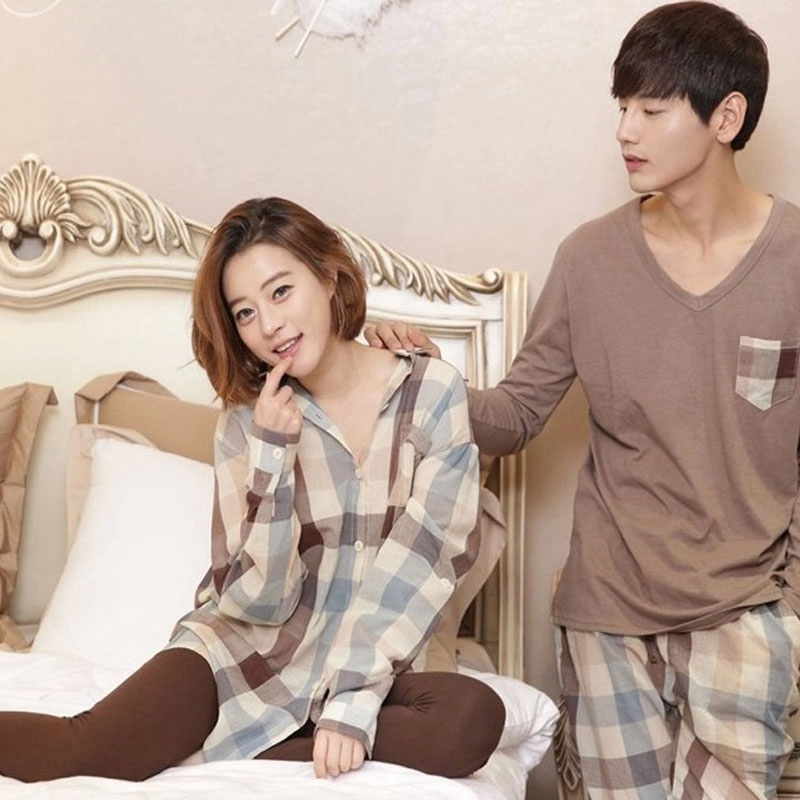Women Men Plaid   Pajama     Sets   Autumn Spring Korean Fashion Women Shirt Sleepwear Comfy Cotton Lovers Home Nightwear Pyjamas T6