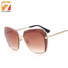 Imitación Madera Gafas de Sol Mujeres Hombres Diseñador de la Marca de La Vendimia Gafas de Sol Para Damas Espejo Shades Mujer Oculos Lunette de Soleil