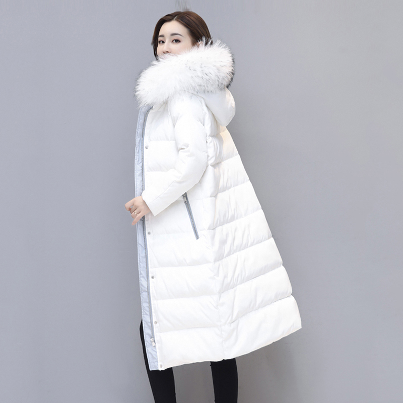 Winter Long Warm White Duck   Down   Jackets Fashion Plus Size White Hooded Fur Collar Women   Coats   Thick Female Casual   Down     Coats