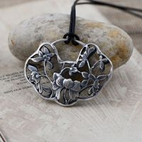 Black silver jewelry wholesale 925 sterling silver jewelry carved peony rich classical lock Pendant 046192w