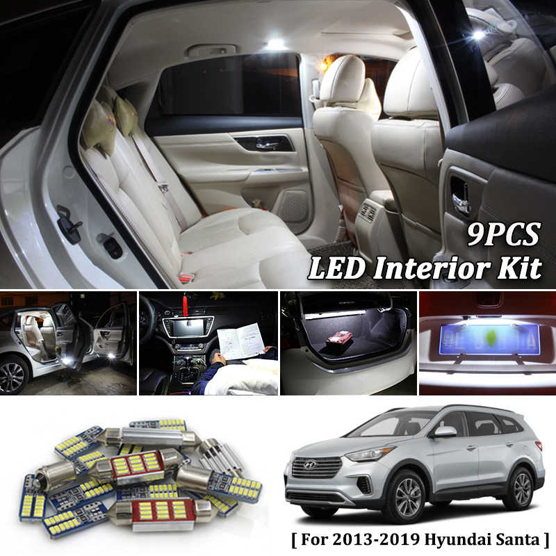 9X Wit Canbus led auto-interieur verlichting Pakket Kit voor 2013 2014 2015 2016 2017 2018 2019 Hyundai Santa Fe led interieur verlichting