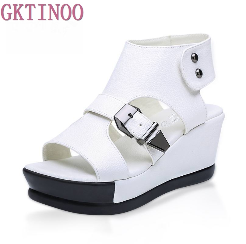 2018 Genuine leather women wedges sandals women's platform sandals fashion summer shoes women casual shoes free shipping Female gktinoo 2018 summer gladiator sandals women rivet wedges fashion women shoes casual comfortable platform female sandal