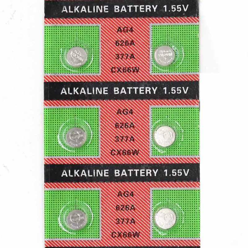 Bán buôn 10 cái/lốc = 1 thẻ AG4 377A 377 Nút Di Động Xem Coin Pin 1.55 v Nút Các Tế Bào Tiền Xu Đồng Hồ pin Mới
