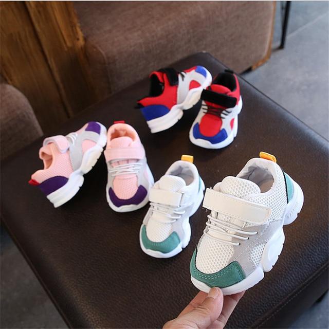 2019 סתיו ילדי נעלי בנות בני נעלי ספורט רך תחתון רשת מזדמן שטוח נעליים לנשימה ילדי תינוק סניקרס גודל 21 -30