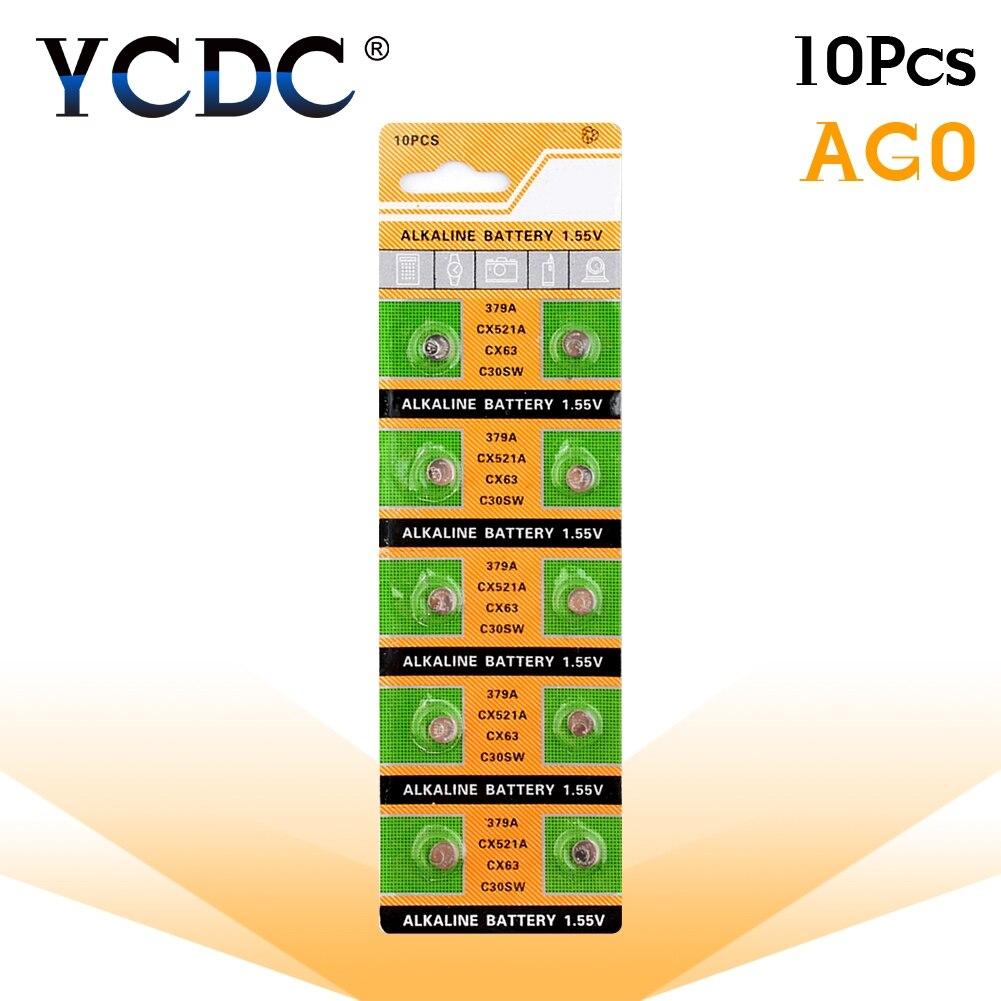 10pcs/pack AG0 LR69 LR521 379A Button Batteries SR521SW D379 Cell Coin Alkaline Battery 1.55V V379 SR63 For Watch Toys Remote