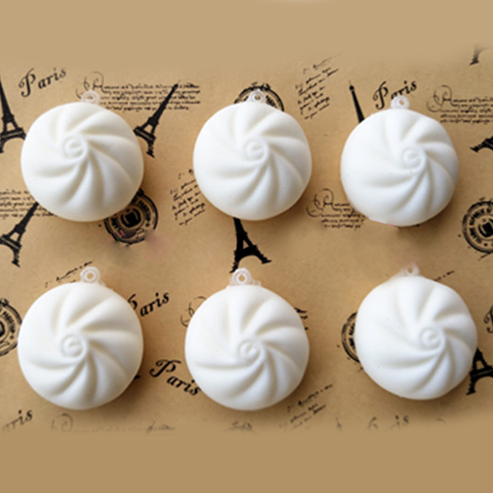 Simulation 4CM/6CM Small Steamed Bun White Bread Squishy Toy Soft Slow Rising Phone Strap Charm Keychain Squeeze Kid Toys