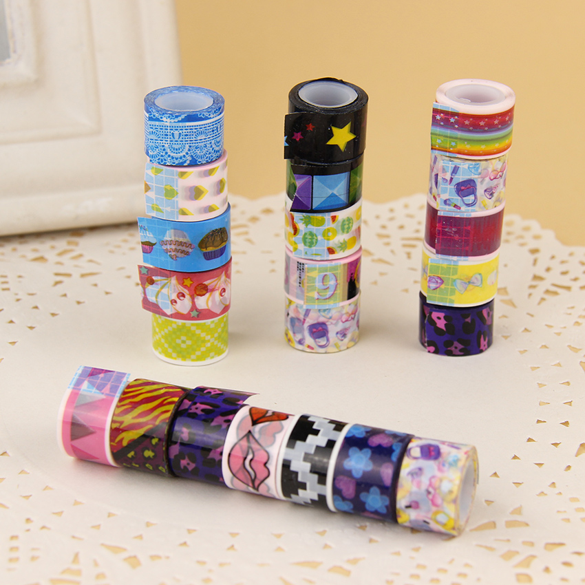 20pcs set mini cartoon tapes decoration roll candy colors for Adhesive decoration