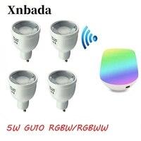GU10 5W MiLight LED Bulb RGBW/WW Dimmable Lamp Light AC86 265V Spotlight Indoor Lamp+ IBX1 LED Remot Wifi Free shipping
