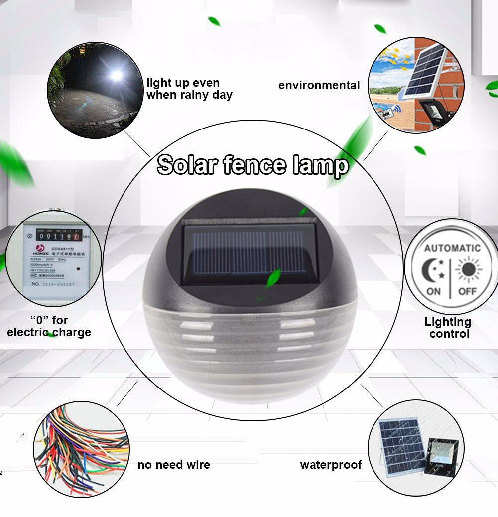 Solar light fence led outdoor garden with rechargeable Ni-MH battery poly-silicon panel waterproof luz for home jardin lighting
