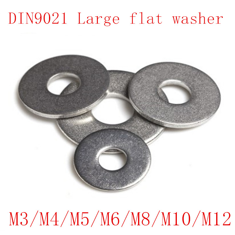 50Pcs DIN9021 M3 M4 M5 M6 <font><b>M8</b></font> M10 M12 Stainless Steel Large Size Flat <font><b>Washer</b></font> image