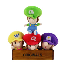 4pcs/lot 17cm Kawaii Super Mario Bros Plush Toys MARIO LUIGI Waluigi Wario Plush Baby Soft Stuffed Doll Toys For Kids Gifts