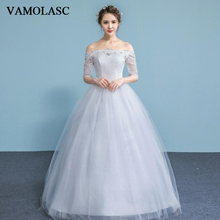 VAMOLASC Crystal Boat Neck Lace Appliques Ball Gown Wedding Dresses Illusion Half Sleeve Backless Bridal Gowns
