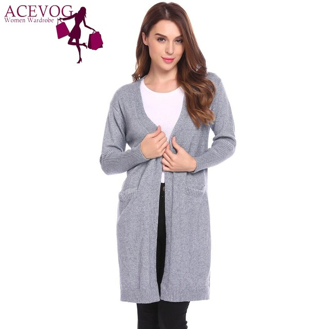 ce13bfb184 ACEVOG Autumn Women Knitted Loose Long Cardigan Long Casual Trim Open Front  Full Sleeve Ribbed Coat