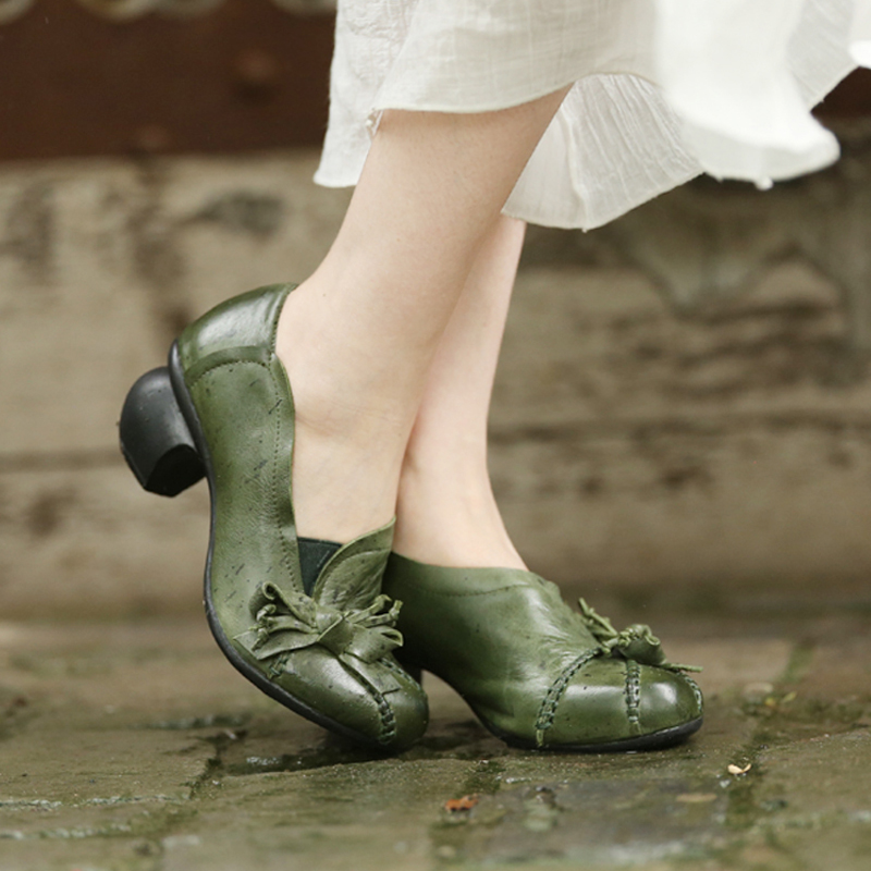 GKTINOO Womens Green Pumps Genuine Sheepskin Leather Ladies 5CM High Heels Shoes Handmade Women Shoes Bowknot