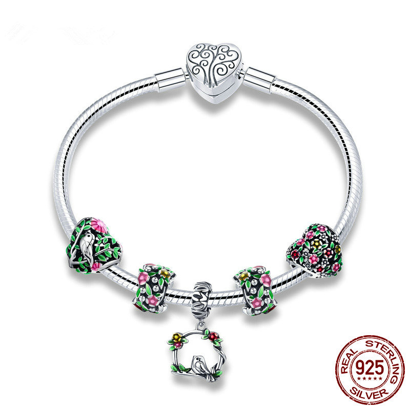 Real 925 Sterling Silver Spring Flower Colorful Enamel Charm Bracelets for Women fashion charms fit pandor style Jewelry