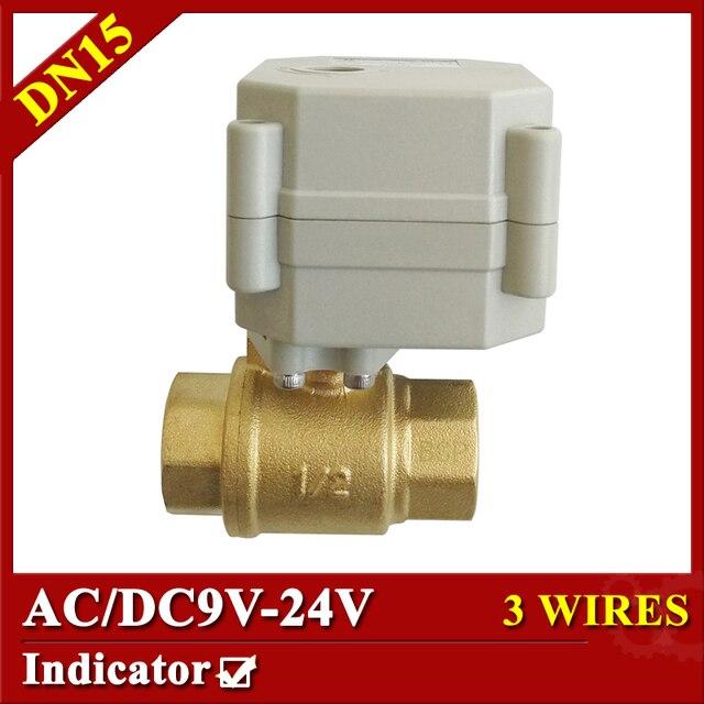 1/2 ''латунь электрический шаровой кран DN15 2 способ управления электродвигателем клапан DC/AC9-24V Электрический моторизованный клапан с индикатором