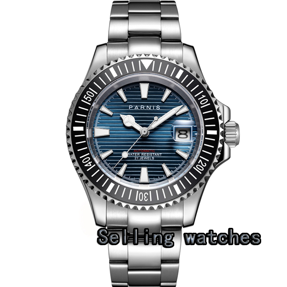 41mm Parnis blue dial Sapphire Glass Rotating Ceramic Bezel Date Luminous Miyota 8215 Automatic Movement Mens Watches цена и фото