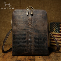 LAPOE crazy horse Genuine Leather Men Alligator Backpack Brand Designer Cowhide Messenger Shoulder Bag Vintage Zipper Bag Male