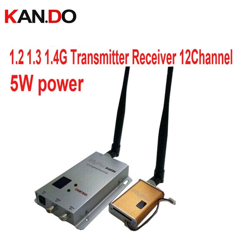 5 w 12ch 1.1g 1.2g 1.3g Sans Fil AV émetteur-récepteur pour la vidéosurveillance 1.2g Transmetteur Audio Vidéo image transmission drone FPV transmetteur
