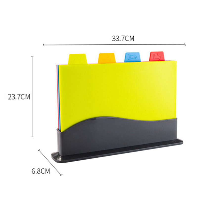 4 pieces / set of high quality classified cutting board Non-slip food grade PP kitchen accessories Single 30 * 0.52cm(China)