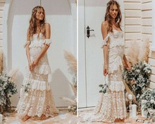 Vestido De Noiva 2019 Vintage Boho Lace Beach Wedding Dress Sexy Off the Shoulder Cap Sleeve Floor Length Bridal Gowns