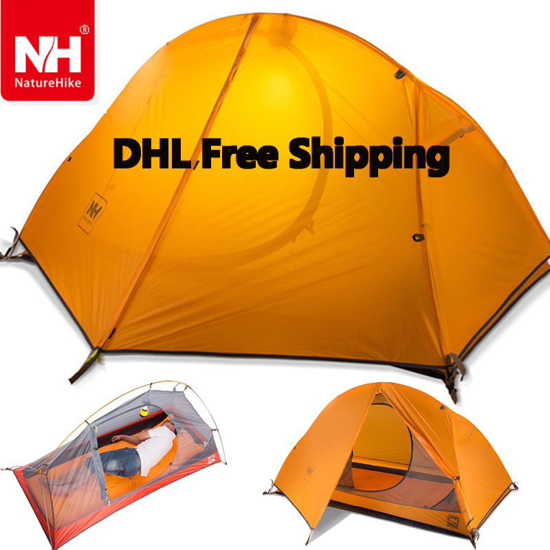 DHL freeshipping 1.5KG naturehike ultralight tent 1 person outdoor camping hiking waterproof tents Single carpas plegables tenda high quality outdoor 2 person camping tent double layer aluminum rod ultralight tent with snow skirt oneroad windsnow 2 plus