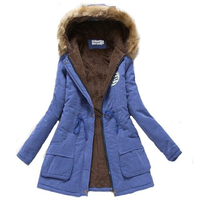 2017 г. женские зимние утепленные теплая куртка Осенняя женская с капюшоном хлопок меха большие размеры Основная куртка Верхняя одежда тонкие длинные Ladies Chaqueta