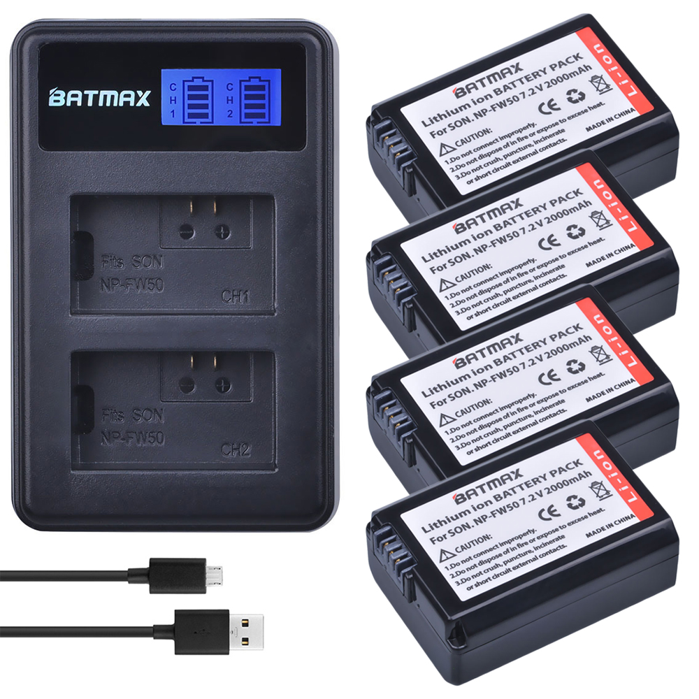 4 pc NP-FW50 NP FW50 FW50 Batterie + LCD USB Double Chargeur pour Sony A6000 5100 a3000 a35 A55 a7s II alpha 55 alpha 7 A72 A7R Nex7 NE