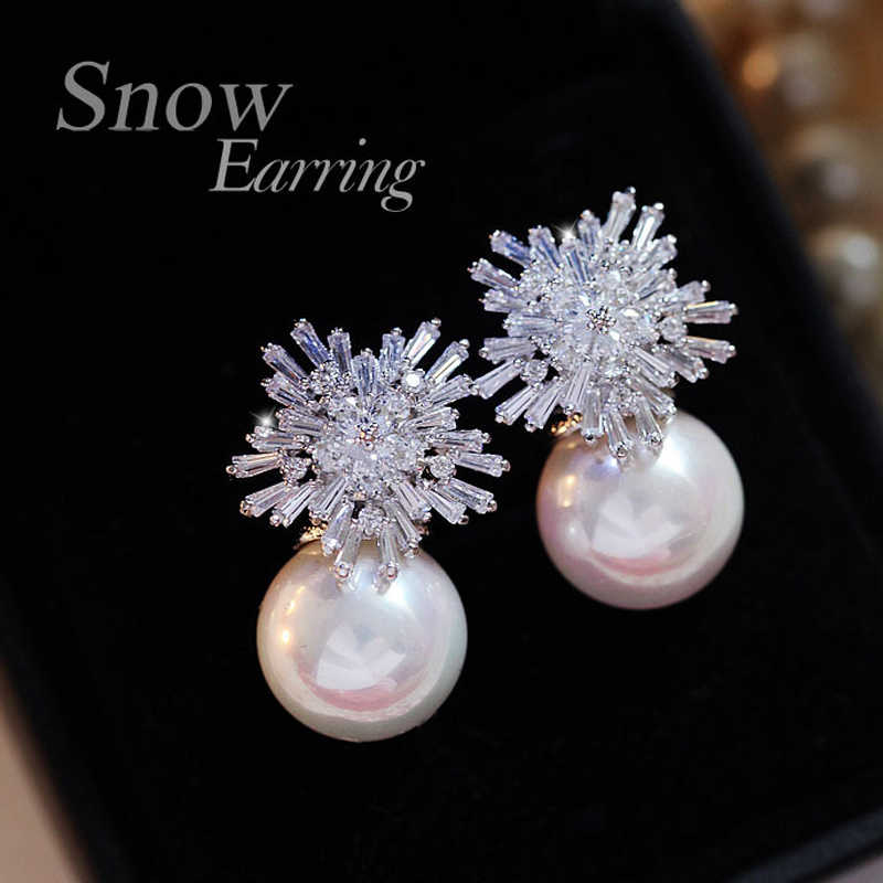 2019 Fashion Snowflake Crystal Pearl Earrings Women's Fashion Alloy Crystal Rhinestone Earrings Women's Crystal Jewelry Gift BFF