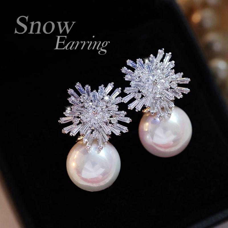 Pearl Earrings Woman Fashion Snowflake Crystal Earrings Charm Rhinestone Inlaid Jewelry Cute Earrings Couple Gifts Best Choice