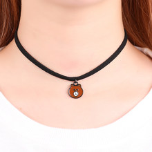 Hot New Torques Bijoux Plain Black Velvet Leather Panda Head Necklace Pendant Maxi Statement Chokers Necklace For Women 2018(China)