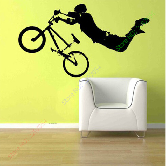 Boy Giant BMX Bike Bicycle Wall Art Sticker Decal Home DIY ...