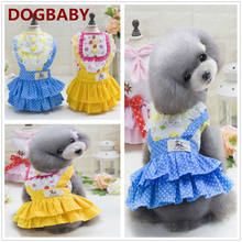 A19 Sweety Spring Summer Pet dress Rural Style Puppy Dogs Cats Princess Cotton Dress Dog Skirts Clothing Apparel(China)
