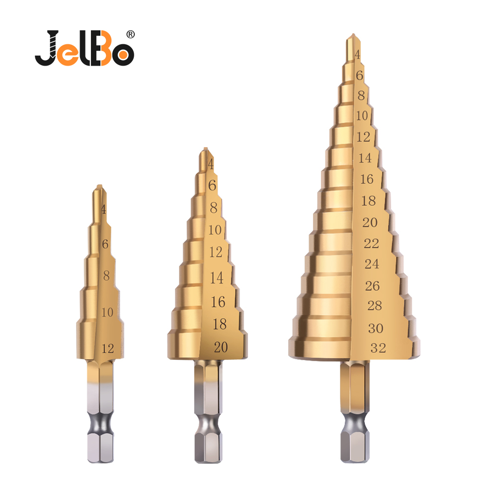 JelBo Step Drill Bit Set Titanium Coated HSS Metal Hex Shank Drill Bits By Power Tool For Wood, Metal (3Pcs/Set 4-12/20/32mm)