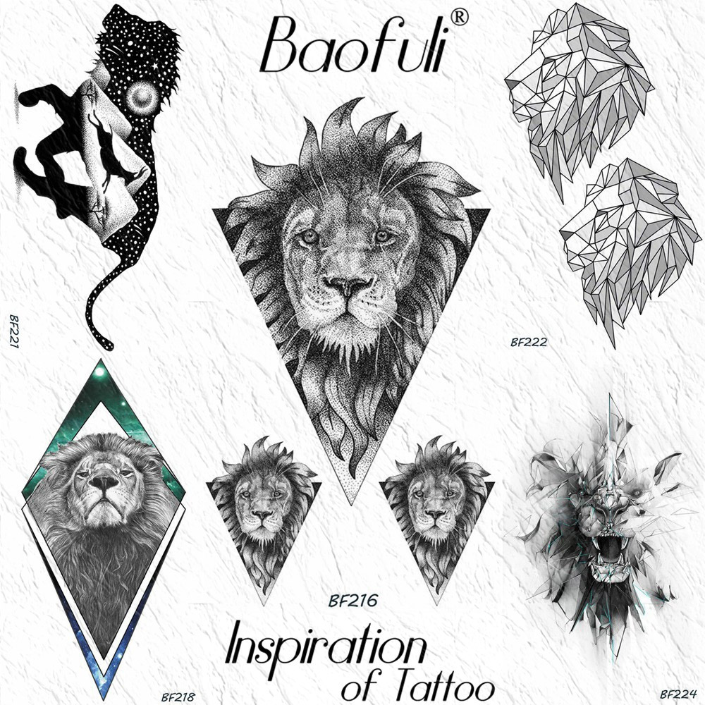 Baofuli Realistic Triangle Lion Tiger Geometric Temporary Tattoos Sticker Draw Leaves Waterproof Tattoos Women Men Fake Tatoos