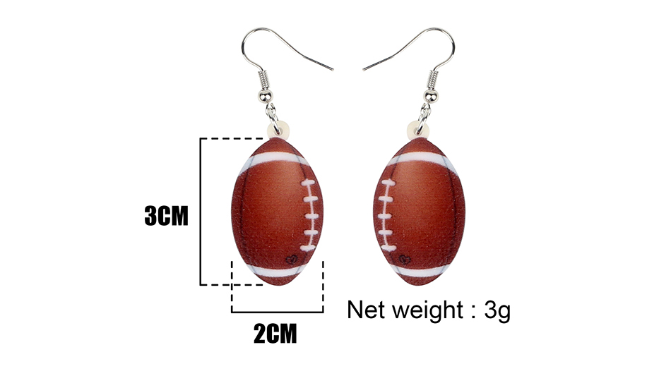 Bonsny Acrylic Novelty Football Ball Earrings Drop Dangle Ins Fashion Hipster Jewelry For Women Girls Party Gift Accessories