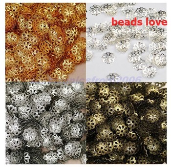 (1000Pcs/lot )Pick 4 Colors Jewelry Findings Flower Beads Caps 9mm(w02927)Free Shipping!