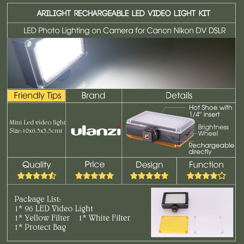 Ulanzi LED video rasvjeta foto rasvjeta na kameru Hot cipela - Kamera i foto - Foto 6