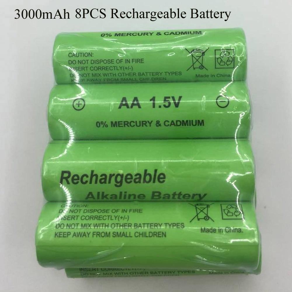 SORAVESS 8 PCS 1,5 V AA Batterie Wiederaufladbare 3000 mah 14500 Alkaline Batterien Für Uhr Spielzeug Taschenlampe Fernbedienung Kamera