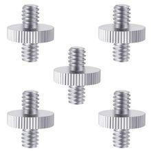 5 Pieces 1/4 inch Male to 1/4 inch Male Metal Threaded Screw Adapter Tripod Screw Converter for DSLR Camera,Tripod,Monopod,Sho
