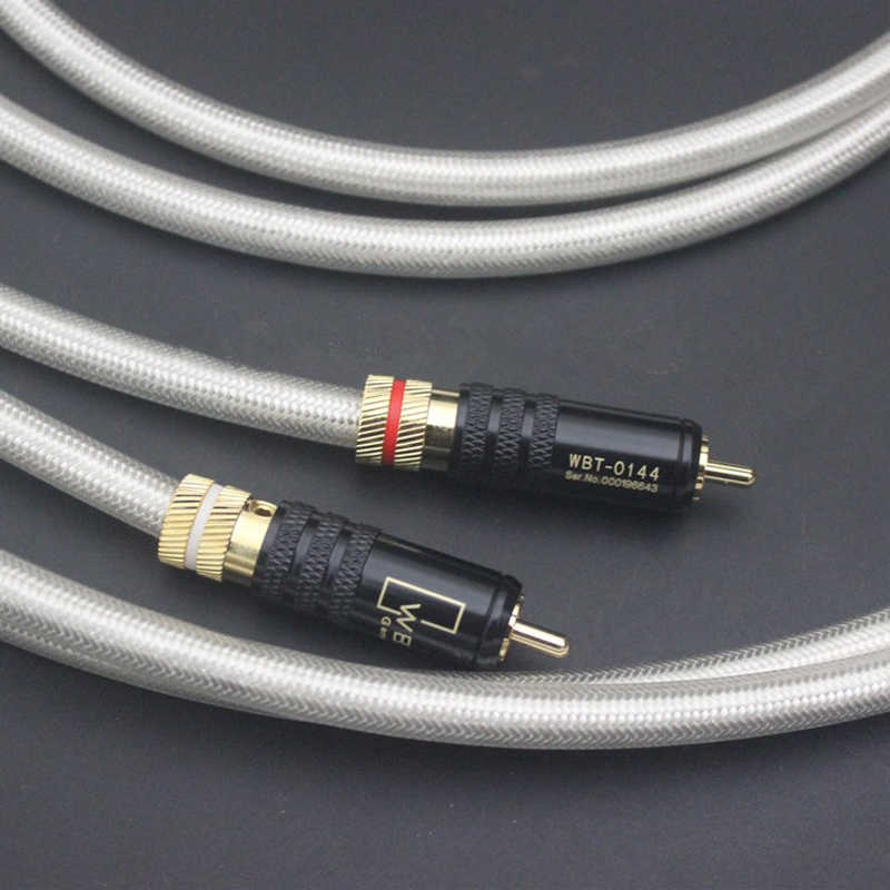 1 pair Hifi WBT-0144 Gold Plated RCA plugs QED Signature OFC Silver-Plated Interconnect  Audio Amplifier CD DVD player RCA Cable