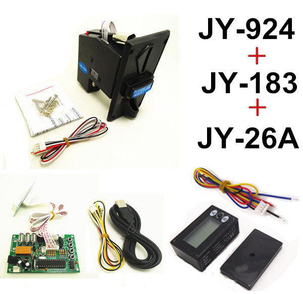 924+JY-183+JY-26A DIY coin operated time control device for USB deivces, multi coin selector with timer board and reset counter цифровая видеокамера jvc jy hm360e jy hm360e